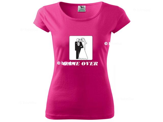 60c8ea6c4e70 Růžové svatební tričko Game Over - L
